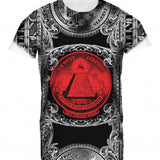 Mens Tshirt All Seeing Eye Red Design