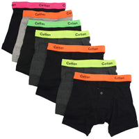 6 x Boy Kid Children NEON Rib Elastic Waist Band Boxer Short Button Fly Underwear