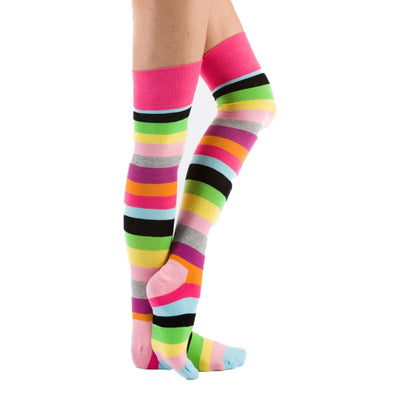 1 x Ladies Women Silky Funky Stripe Cotton Rich Over The Knee Socks