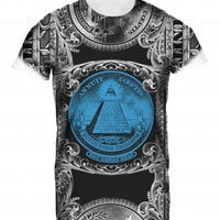 Mens Tshirt All Seeing Eye Blue Design