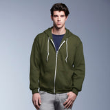 Mens Anvil Full Zip Hooded Hoodie Cotton Rich Fleece Sweatshirt