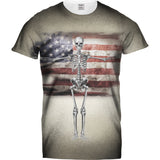 Mens Tshirt America Flag and Skeleton Design