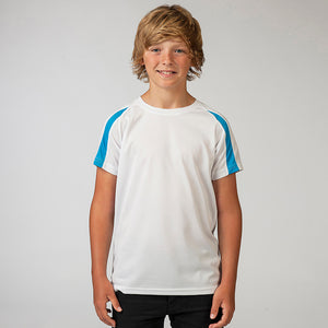 Kids Children Boy Girl Contrast Polyester Raglan Football Sport T Shirt Top
