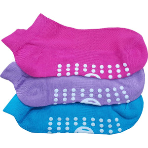 3 x Kids Trainer Grip Socks Gripper Non Skid Slip for Girls