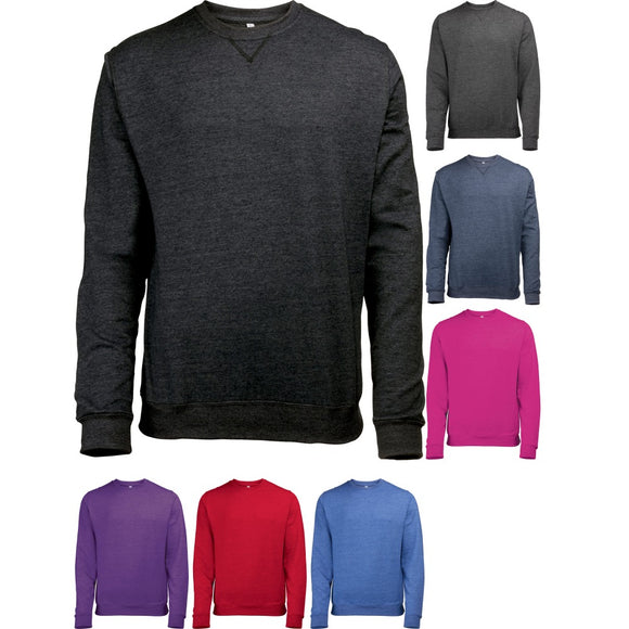 Mens Polycotton Plain Rubbed Collar Cuff and Hem Slim Fit Sweatshirt Top