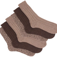 6 x Mens Non Elastic Loose Top Winter Warm Wool Blend Socks with Terry Cushion