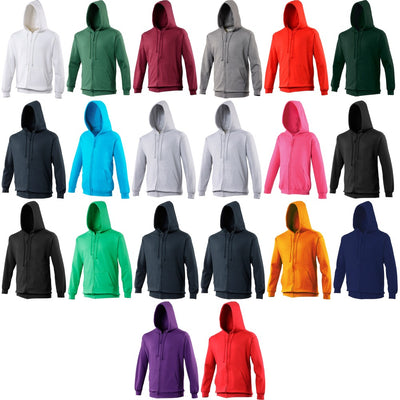 Mens AWDis Cotton Rich Double Zip Up Hooded Hoodie Top Zoodie