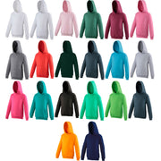 Unisex Kid Children Boy Girl AWDis Plain Cotton Rich Hoodie Hooded Top