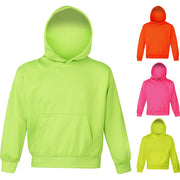 Unisex Kid Children Boy Girl AWDis Neon Bright Electric Hoodie Hooded Top