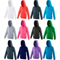 Unisex Kid Children Boy Girl AWDis Cotton RichPlain Hoodie Hooded Zoodie Top