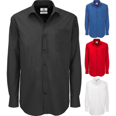 Mens B&C Heritage Long Sleeve Formal Work 100% Cotton Shirt