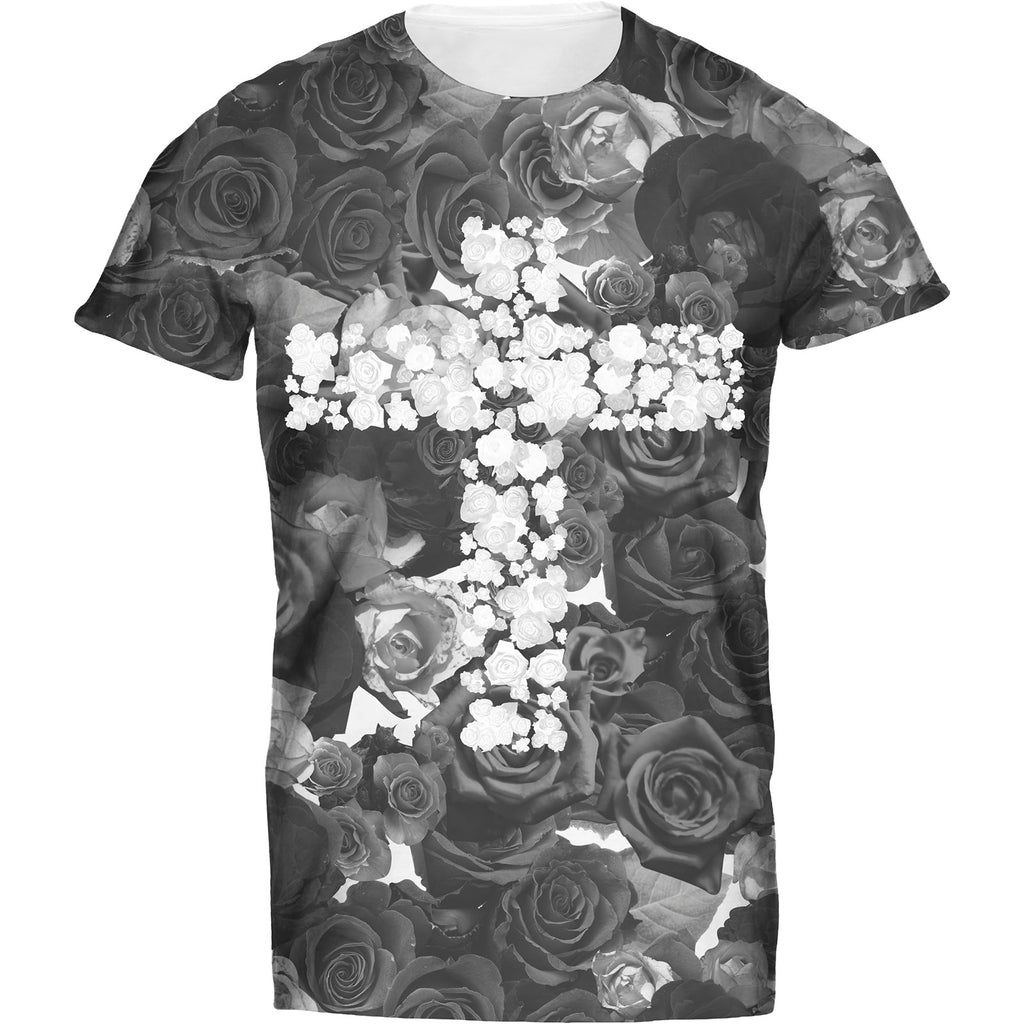 Mens Tshirt Floral White Cross On Black Design