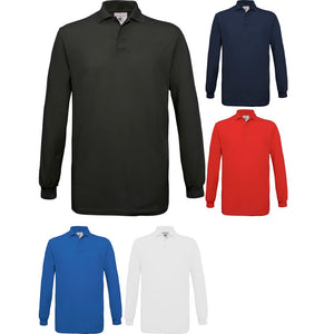 Mens Safran B&C 100% Cotton Long Sleeve Plain Polo Neck Shirt