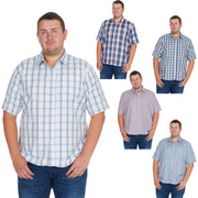 Mens Big Tall Plus Shirt Check Short Sleeve Casual Work Top King Size