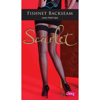 Ladies Women Silky Scarlet Nylon Fishnet Backseam Lace Hold Up
