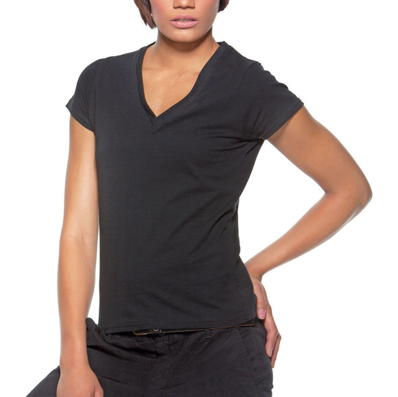 Ladies Women Uniform Cafe Bar V Neck Cotton Rich Short Sleeve T Shirt Top