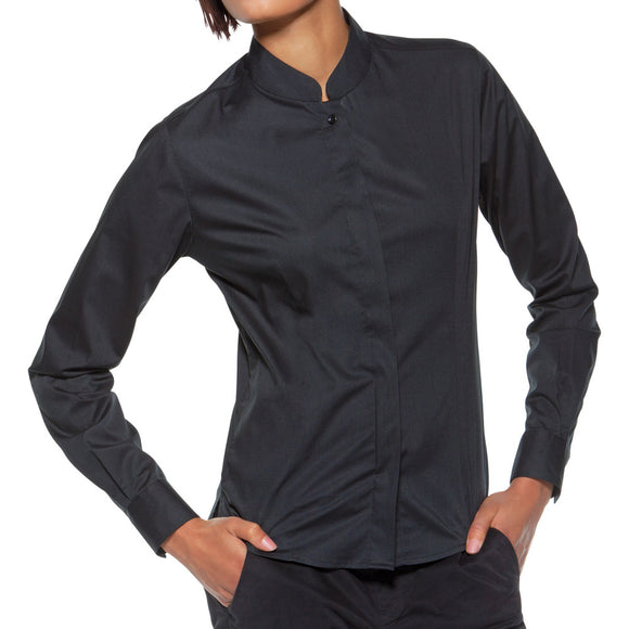 Ladies Bar Waiter Oriental Mandarin Collar Restaurant Uniform Long Sleeve Shirt