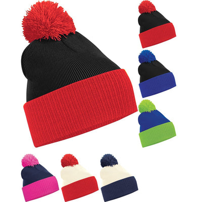 Ladies Woman Beechfield Thermal Winter Two Colour Snowstar Beanie Hat Bobble