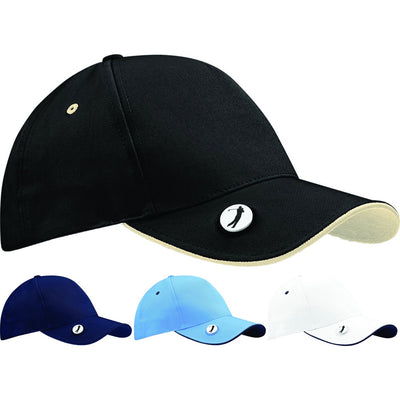 Mens Pro Style Ball Mark Summer Golf 100% Chino Cotton Cap Hat