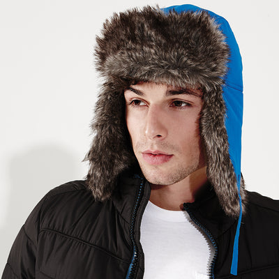 Adult Trapper Winter WarmSherpa Hat with Faux Fur Trim Quilt Lining
