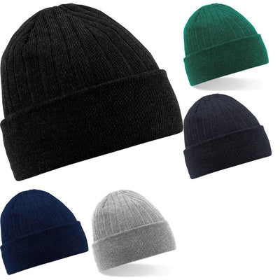 Adult Unisex Beechfield Ribbed Thermal Winter Warm Thinsulate Beanie Hat