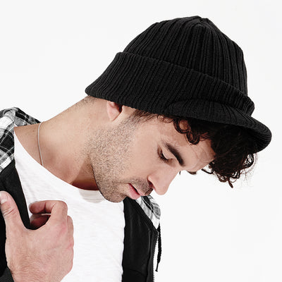 Adult Unisex Beechfield Ribbed Thermal Thinsulate Peaked Beanie Hat Peak Flap