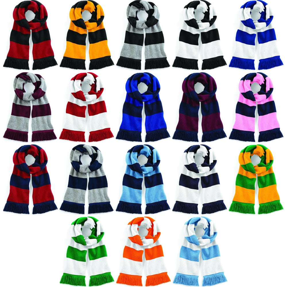 Adult Unisex Varsity Winter Warm Double Layer Knit Knitted Scarf Tassel