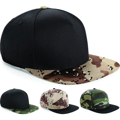 Unisex Adult Men Women Beechfield Baseball Cap Hat with Camo Camouflage Peak