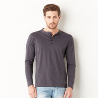 Mens Bella Canvas 100% Cotton Jersey Long Sleeve Four Button Henley Top Shirt