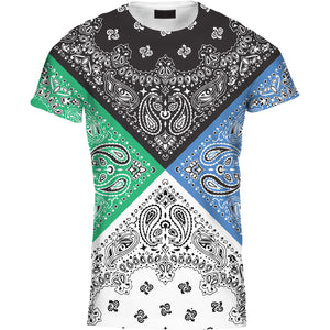 Mens Tshirt Four Colour Bandana Green Blue Design