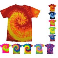 Colortone Heavy Weight 100% Cotton Rainbow Tie Dye T Shirt Top