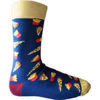 Mens Wow Pizza and Fries Take Out Night Bamboo Rich Novelty Fun Design Socks