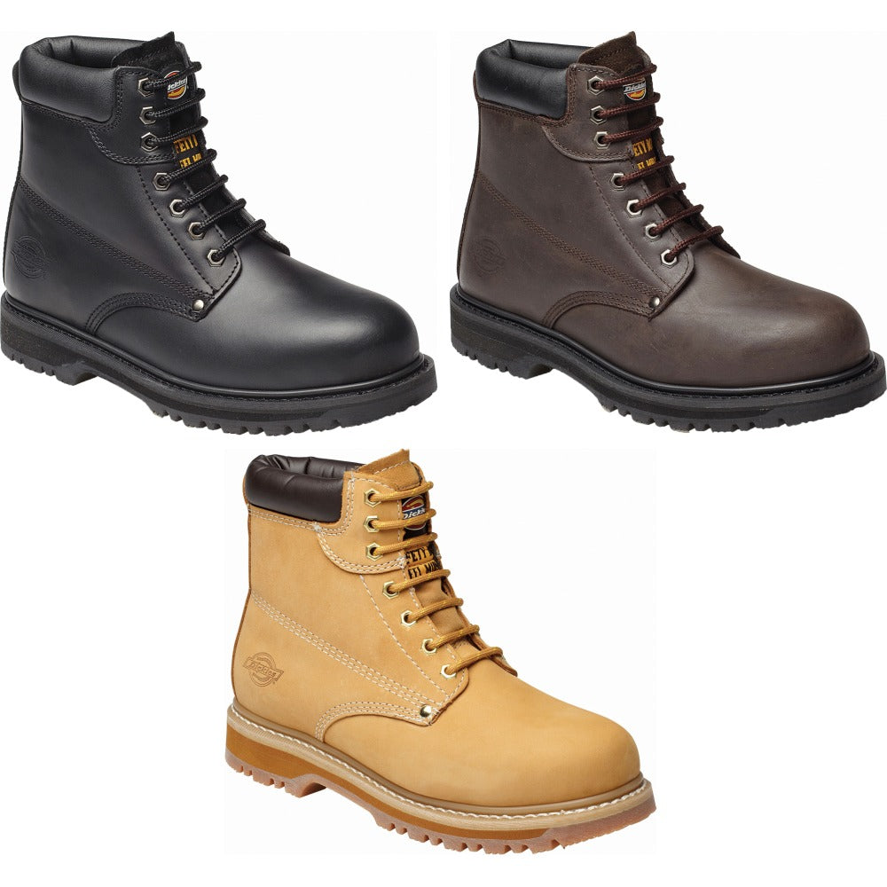 f6d9c6c2b9a Mens Dickies Cleveland Super Leather Steel Toe Cap Safety Boot Shoes Builder