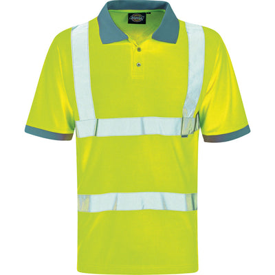 Mens Dickies Hi Visibility Vis Viz Waterproof Motorway Highway Polo Short Top
