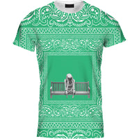 Mens Tshirt Skeleton Bench Bandana Green Design