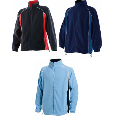 Mens Finden Hales Piped Micro Fleece Full Zip Long Raglan Sleeve Jacket