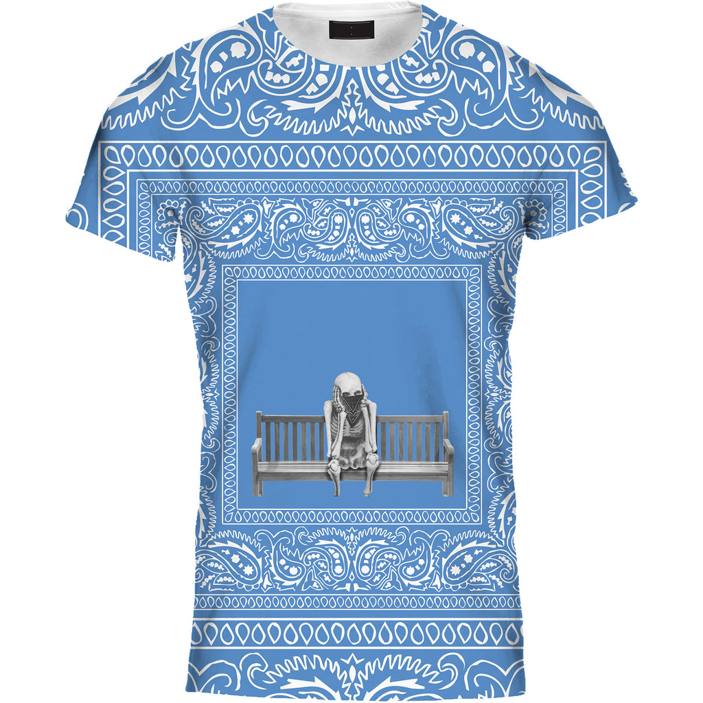 Mens Tshirt Skeleton Bench Bandana Blue Design