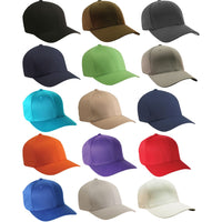 Adult Unisex Flexfit Polyester Cotton Fitted 6 Panel Plain Baseball Cap Hat