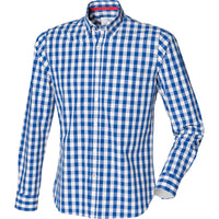 Mens Checked Chequered Check Square 100% Cotton Long Sleeve Shirt Top