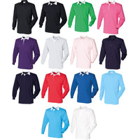 Mens Front Row Long Sleeve Plain 100% Cotton Rugby Collar Shirt Top