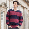 Mens Front Row Sewn Stripe Long Sleeve 100% Cotton Rugby Shirt Collar Neck Top
