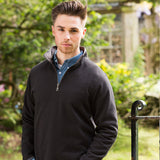 Mens Front Row Supersoft Touch 1/4 Zip Cotton Rich Long Sleeve Sweatshirt