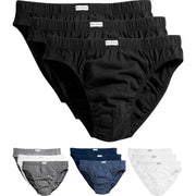3 x Mens Classic Sport High Cut Leg 100% Cotton Stripe Briefs Slips