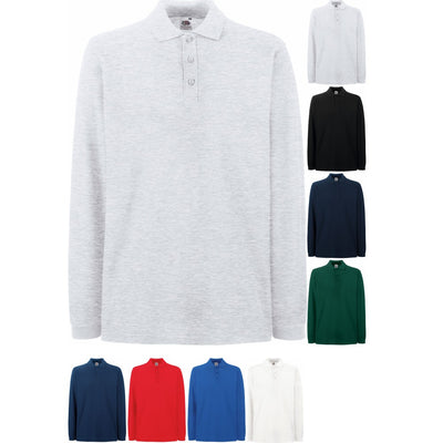 Men Fruit Loom 100% Cotton Plain Premium Polo Neck Collar Long Sleeve Shirt Top