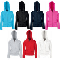 Ladies Women Fruit of Loom Premium Cotton Rich Hoodie Hooded Sweat Jacket Top