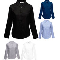 Ladies Women Fruit of the Loom Cotton Rich Oxford Long Sleeve Shirt Top