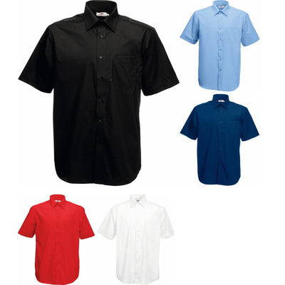 Mens Fruit of the Loom Poplin Cotton Rich Short Sleeve Shirt Top