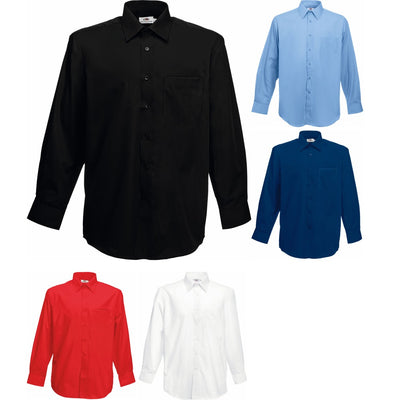 Mens Fruit of the Loom Poplin Cotton Rich Long Sleeve Shirt Top