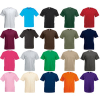 Mens Fruit of the Loom Value Weight Plain Cotton Short Sleeve T Shirt Top