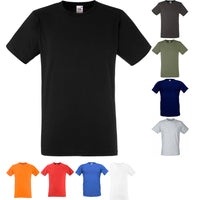 Mens Fruit of the Loom Value Fitted Short Sleeve Plain 100% Cotton T Shirt Top